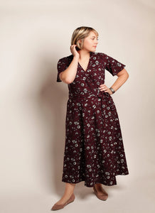 PLUM FLORAL MAXI WRAP DRESS