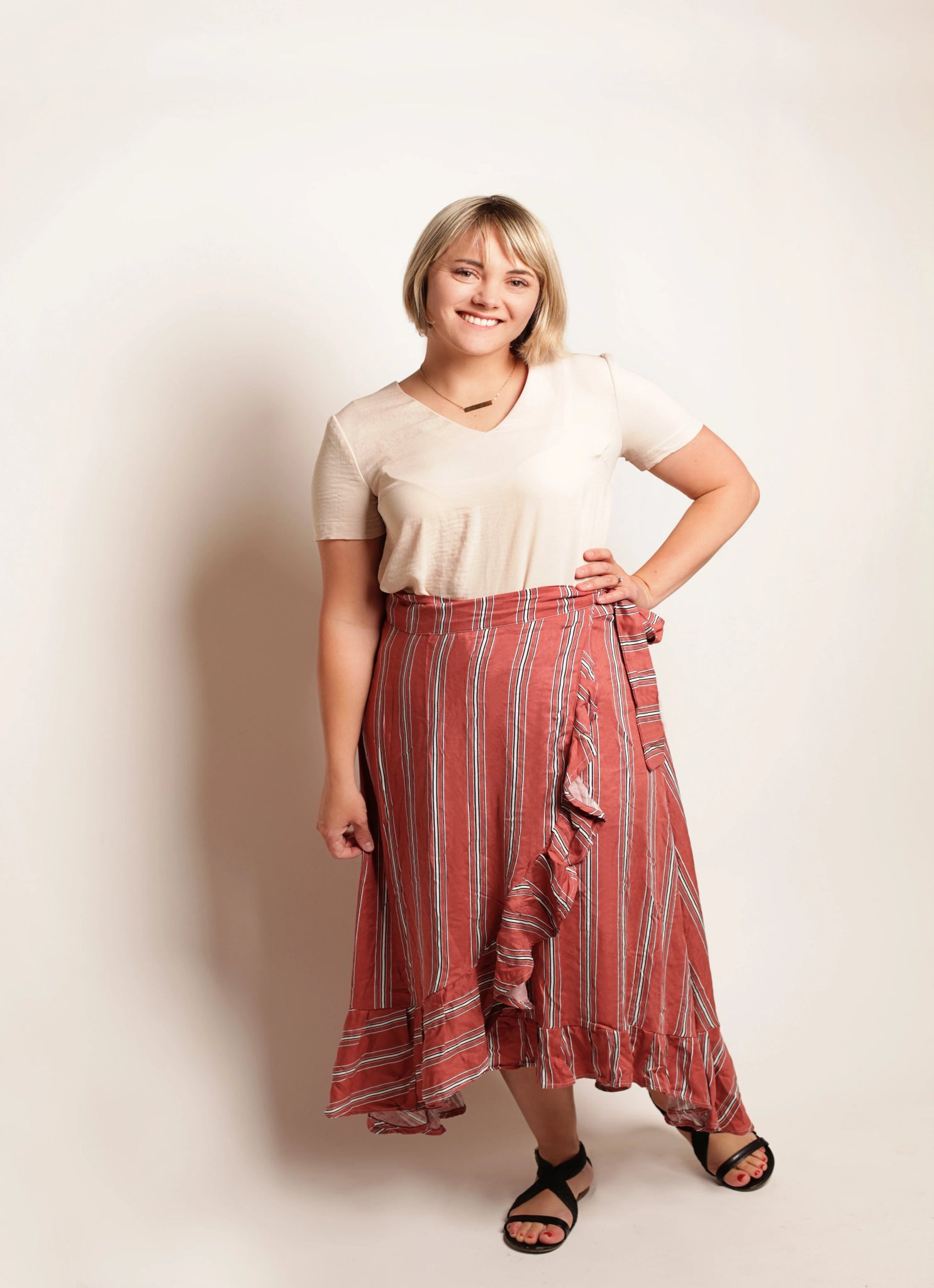 (limited!) SALMON STRIPE WRAP SKIRT