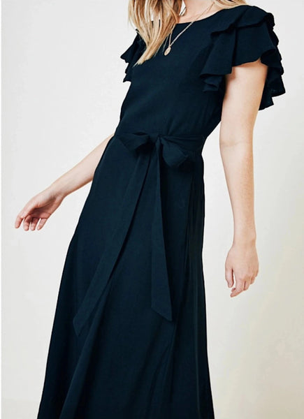 BLACK FLUTTER SLEEVE MAXI DRESS