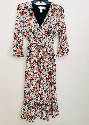 *NEW* HIGH-LOW WRAP DRESS- BLACK FLORAL