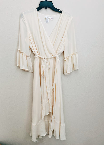 *NEW* HIGH-LOW WRAP DRESS- SOLID IVORY