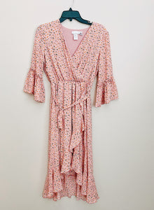 *NEW* HIGH-LOW WRAP DRESS- DITSY PINK