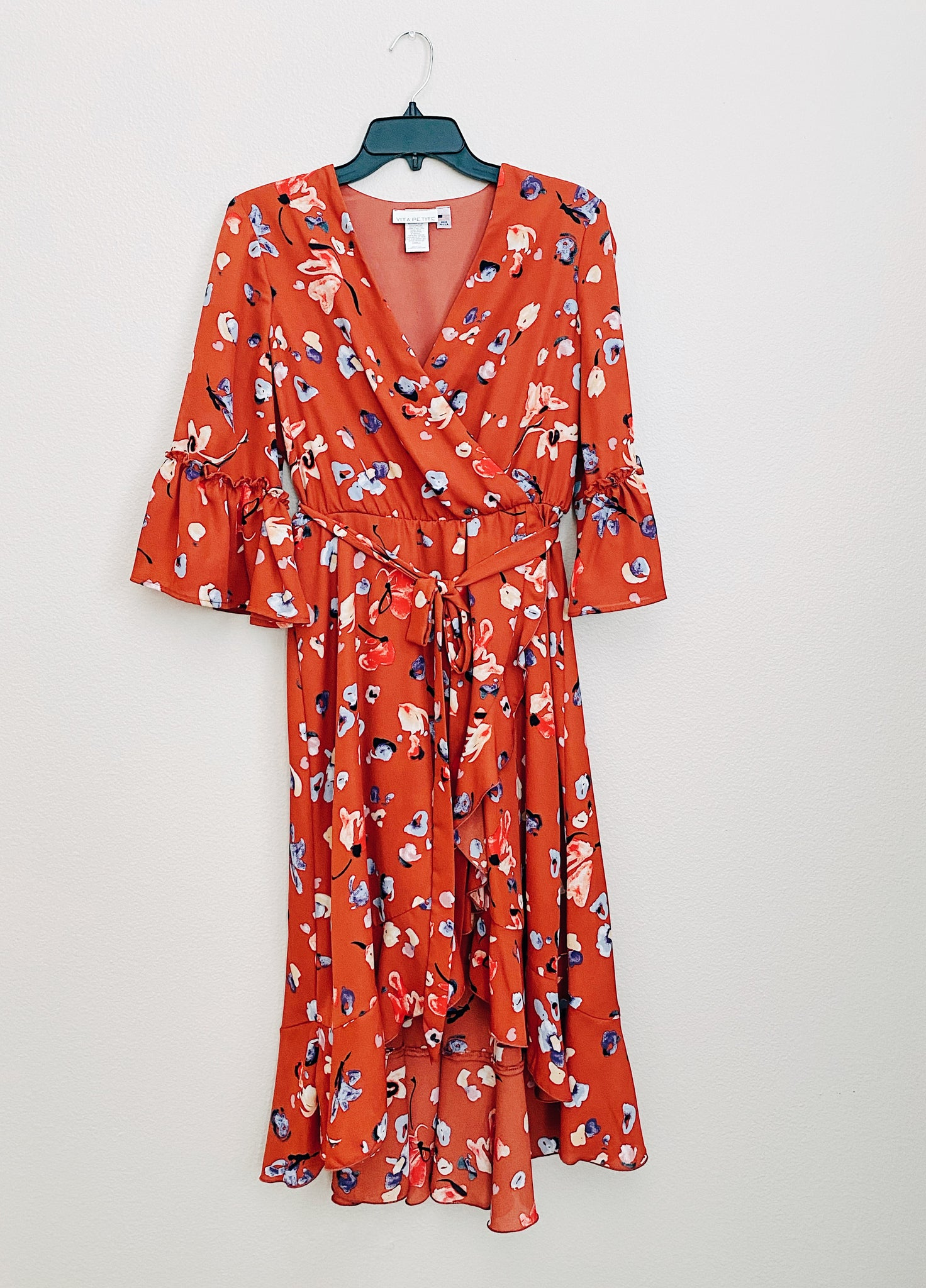 *NEW* HIGH-LOW WRAP DRESS- RUST FLORAL