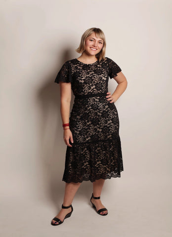 BLACK/NUDE LACE MIDI DRESS