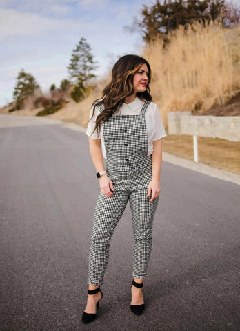 BLACK & WHITE GINGHAM JUMPSUIT