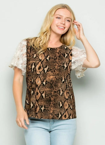 SNAKE AND LACE TOP