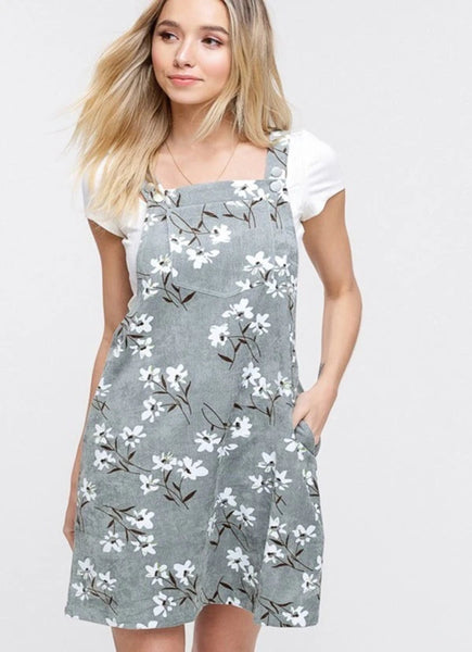 FLORAL CORDUROY OVERALL DRESS