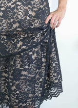 Load image into Gallery viewer, BLACK/NUDE LACE MIDI DRESS