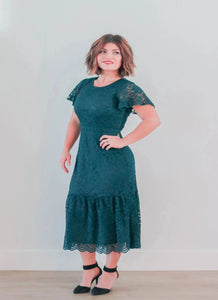 HUNTER GREEN LACE MIDI DRESS