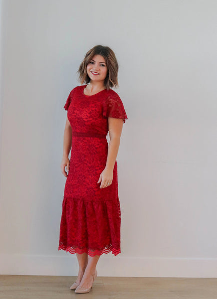 RUBY RED LACE MIDI DRESS