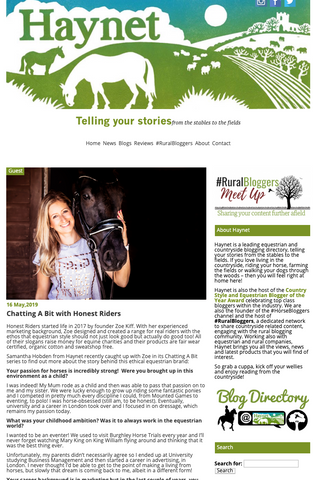 Haynet blog 'Chatting a bit' meets Zoe Kiff from Honest Riders