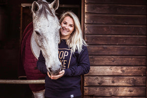 'DROP IT LIKE IT'S TROT' Warmblood Sweatshirt - Navy - Honest Riders