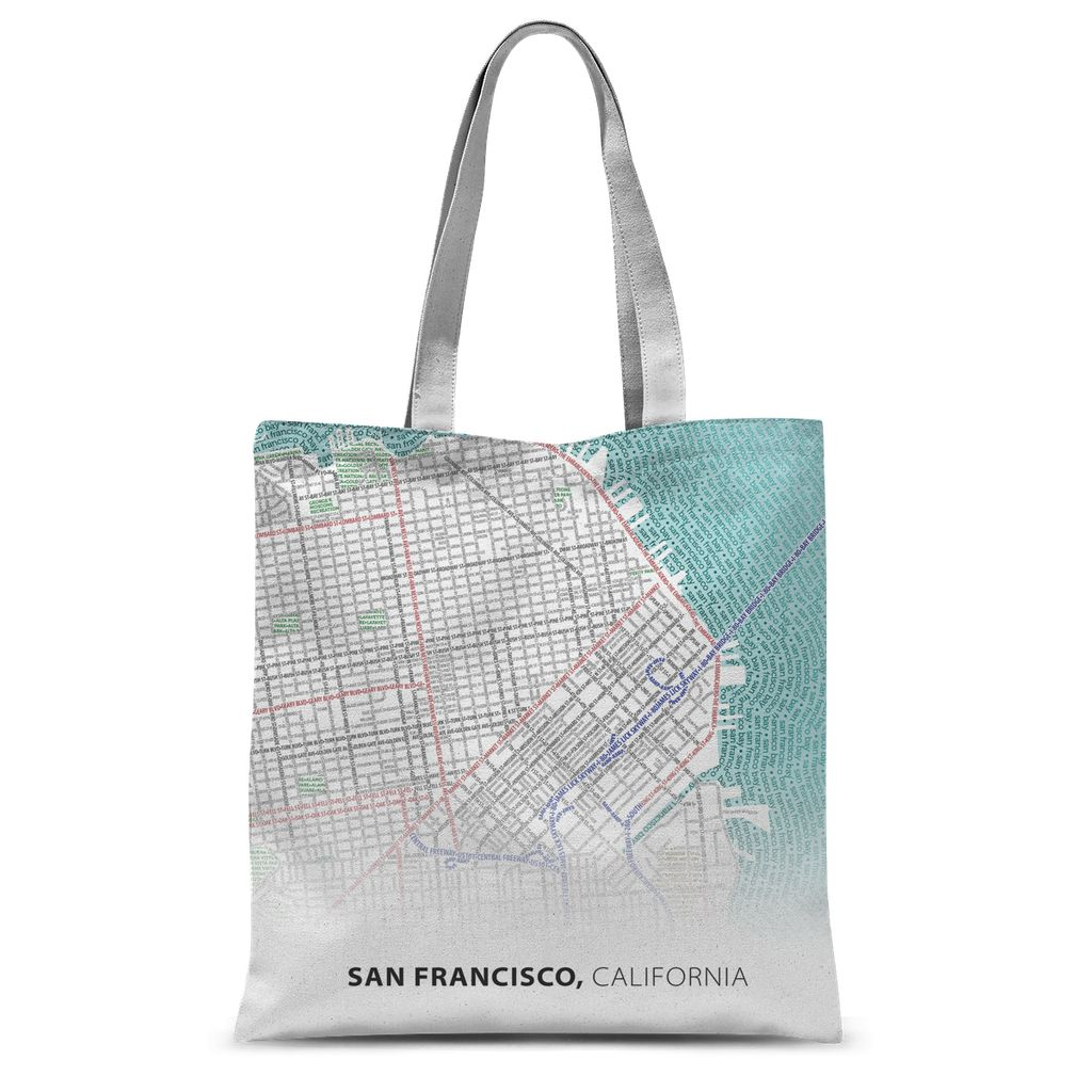 San Francisco Typographic Sublimation Tote Bag
