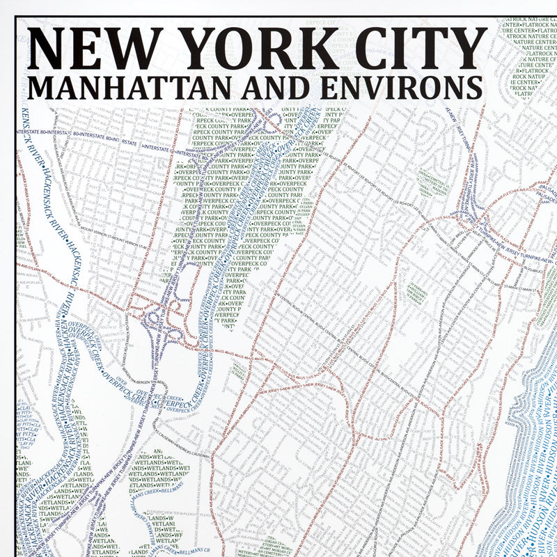 Map Of New York Poster.New York City Typographic Framed Poster
