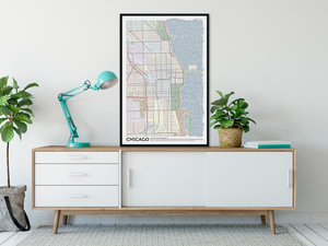 Chicago Typographic Framed Poster