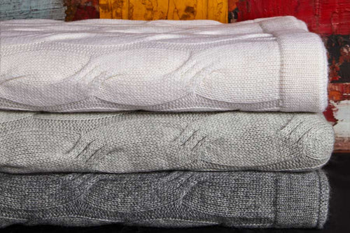 Bemboka CASHMERE THROWS 120x200cm Pale Grey Bemboka Chunky Cable Italian Cashmere Throws - Pre-Shrunk Brand