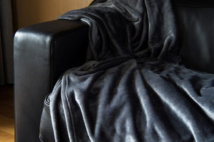 Brogo Micro Mink Supersoft Throw - Charcoal
