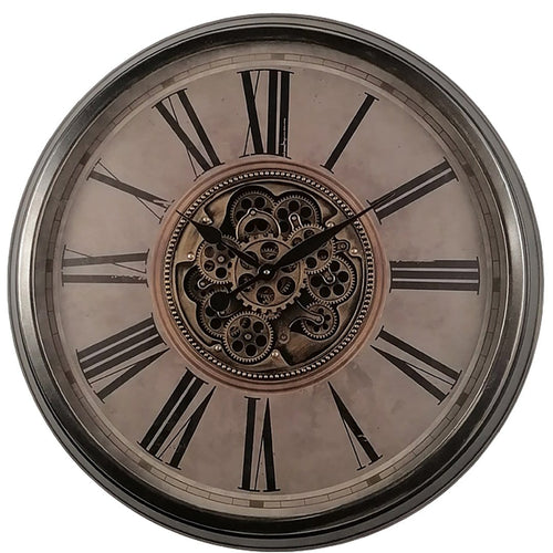 italianluxurygroup.com.au Clock Le Romancier Round Antique Provincial Moving Cogs Wall Clock Brand