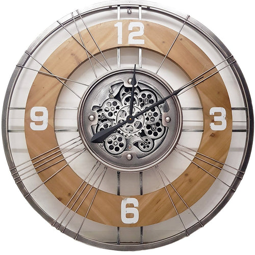italianluxurygroup.com.au Clock Geo Roman Round Country Moving Cogs Wall Clock Brand