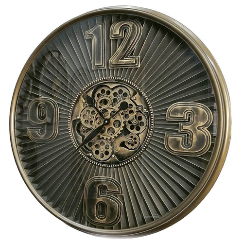 italianluxurygroup.com.au Clock The Aviator Bronze Round Maxim Ribbed Exposed Gear Clock Brand