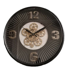 Load image into Gallery viewer, Aviator Gold Round Maxim Ribbed Exposed Gear Clock