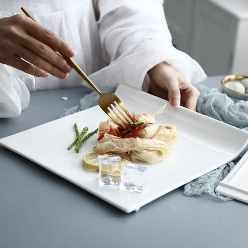 Ake Design White Ceramic Plate - italianluxurygroup.com.au