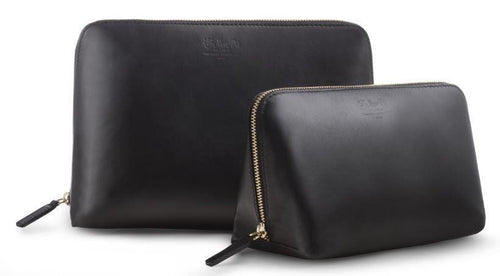 Beauty Bags Cosmetics Toilette Case Black Italian Leather - italianluxurygroup.com.au