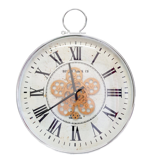 italianluxurygroup.com.au Clock Boston D53cm Round Moving Cogs Wall Clock - Silver Brand
