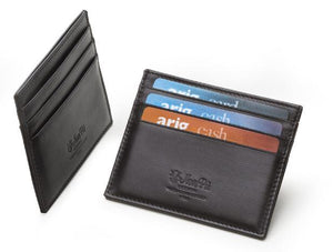 Credit Card Holder Black Italian Leather - italianluxurygroup.com.au