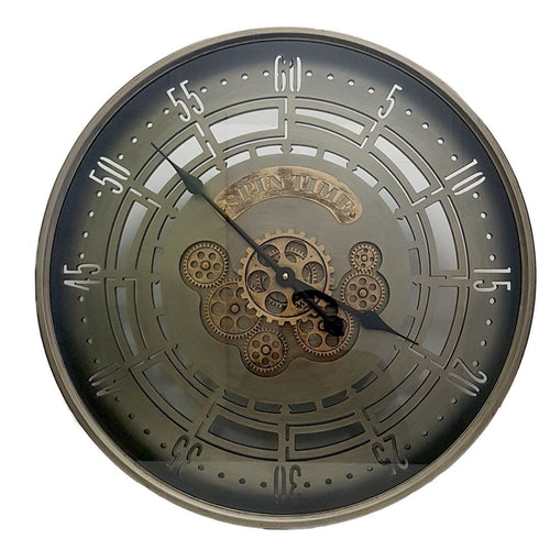 D60cm Round Spin Time Modern moving cogs Clock - Grey - italianluxurygroup.com.au