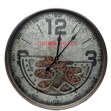 Load image into Gallery viewer, D60cm Round Union Hotel Modern moving cogs Clock - Silver - italianluxurygroup.com.au