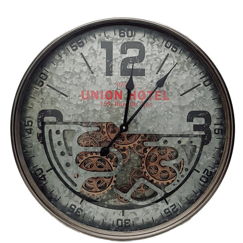 Italian Luxury Group Clock D60cm Round Union Hotel Modern moving cogs Clock - Silver Brand