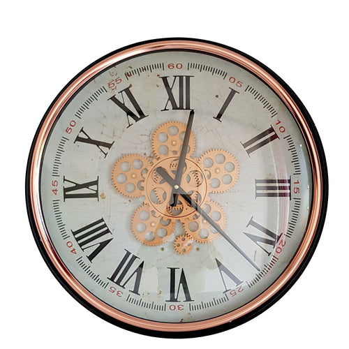 italianluxurygroup.com.au Clock Domonique Round moving cogs wall clock - Rose Gold Domonique Round wall clock Rose Gold Copper w/ Black Brand