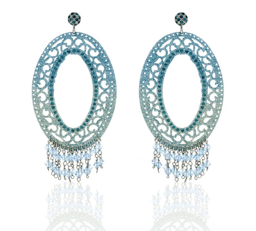 Earrings with Glitter in Colour Gradient and Swarovski Crystal - italianluxurygroup.com.au