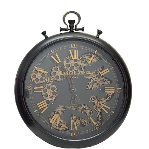 italianluxurygroup.com.au Clock French Stopwatch moving cogs wall clock Black Brand