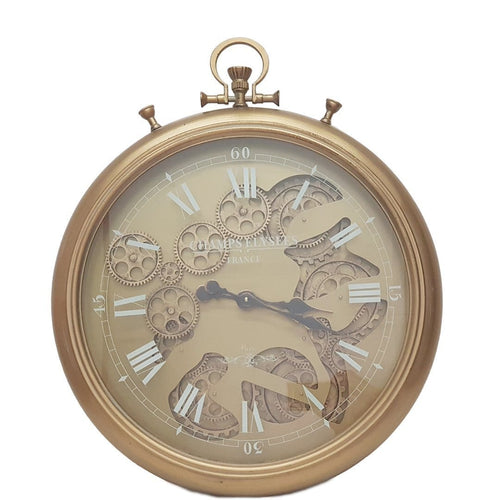 French Stopwatch moving cogs wall clock - gold - italianluxurygroup.com.au