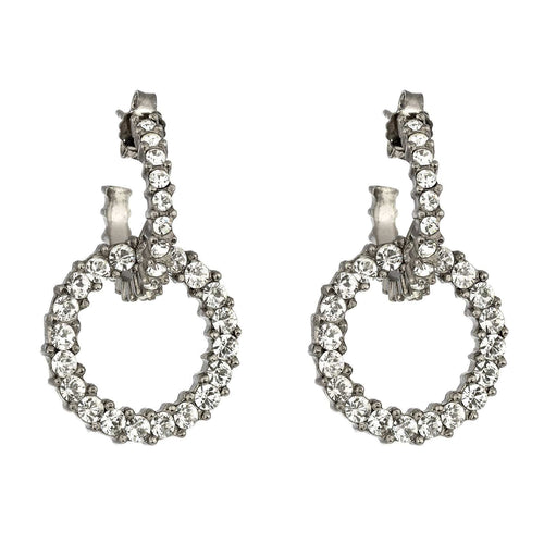 Giora Earrings in Bronze With White Swarovski Crystals. - italianluxurygroup.com.au