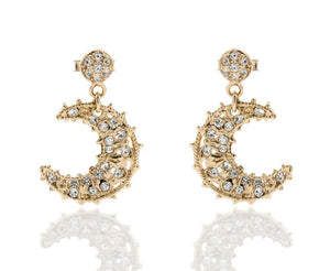 Giora Earrings Moon Shape in Bronze With Swarovski Crystals. - italianluxurygroup.com.au