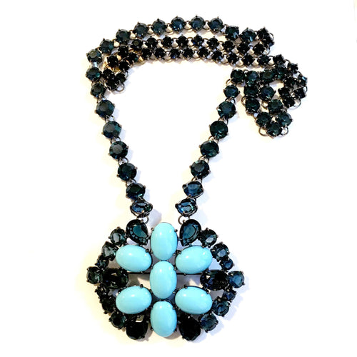 Giora Necklace with Brooch full of Blue Swarovski Precious Crystal and Turquoise Cabochon - italianluxurygroup.com.au