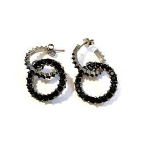 Giora Round Earrings in Bronze With Black Swarovski Crystals. - italianluxurygroup.com.au
