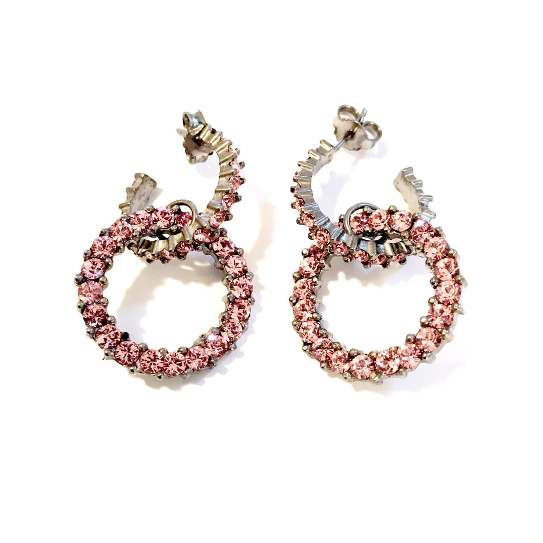 Giora Round Earrings in Bronze With Pink Swarovski Crystals. - italianluxurygroup.com.au