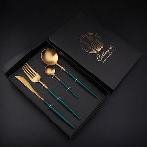 Italian Luxury Group Cutlery GOLD & GREEN Golden Spot Cutlery Set of 4 Pcs Gift Box Brand