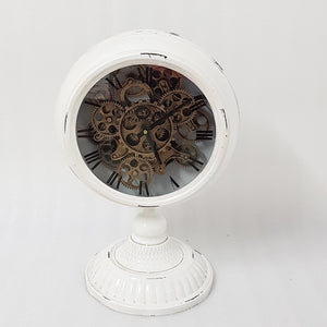 Industrial moving cogs standing clock on footed stand - black - italianluxurygroup.com.au