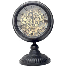 Load image into Gallery viewer, Industrial moving cogs standing clock on footed stand - white - italianluxurygroup.com.au