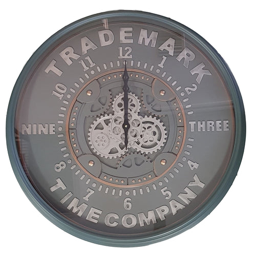 italianluxurygroup.com.au Clock La Marque D80cm Round Modern moving cogs Clock - Grey w/metal Green Brand