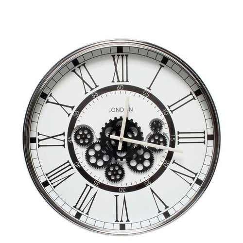 Italian Luxury Group Clock London Modern moving cogs Clock Black & White Brand