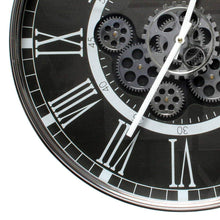 Load image into Gallery viewer, London Smoke D55cm Round moving cogs wall clock - Black - italianluxurygroup.com.au