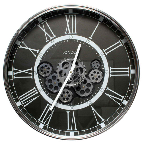 italianluxurygroup.com.au Clock London Smoke D55cm Round moving cogs wall clock - Black Brand