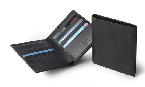 Men's Black Italian Leather Credit Card Holder Wallet - italianluxurygroup.com.au