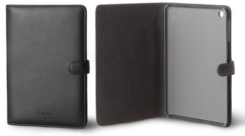 Mini iPad Holder Black Italian Leather - italianluxurygroup.com.au